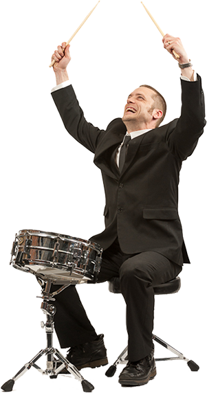 Wedding Music Band Slinky | Band Hire | Manchester | Yorkshire | Drummer poised ready to play with arms in the air.