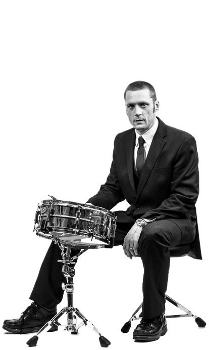Wedding Music Band Slinky | Band Hire | Manchester | Yorkshire | Drummer seated with snare drum.
