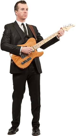 Wedding Music Band Slinky | Band Hire | Manchester | Yorkshire | Guitarist performing in smart suit.
